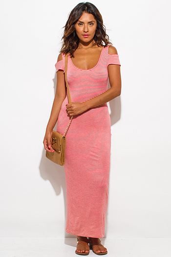 $15 - Cute cheap stripe mesh dress - coral khaki beige stripe jersey cut out cold shoulder open back ankle maxi dress
