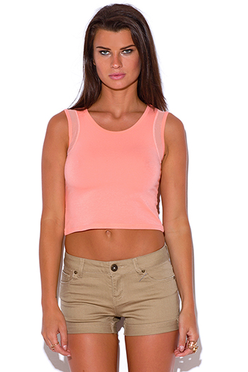 $5 - Cute cheap pink crop top - peach pink mesh inset sporty fitted crop tank top