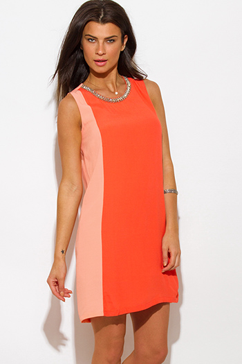 $15 - Cute cheap color animal print dress - coral orange color block crepe bejeweled cocktail sexy party shift mini dress