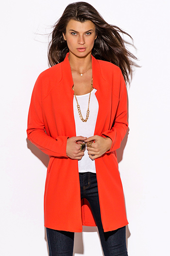 $25 - Cute cheap black collar mustard yellow blazer jacket 66327 - coral orange mandarin collar open coat jacket