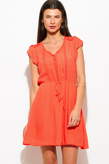 $20 - Cute cheap strapless boho mini dress - coral orange rayon gauze a line crochet contrast cap sleeve boho mini peasant dress
