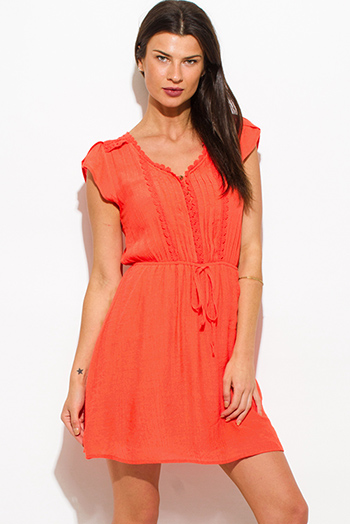 $15 - Cute cheap evening mini dress - coral orange rayon gauze a line crochet contrast cap sleeve boho mini peasant dress