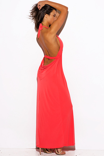 $25 - Cute cheap maxi dress - coral pink deep v neck bejeweled draped backless babydoll summer formal evening sexy party maxi dress