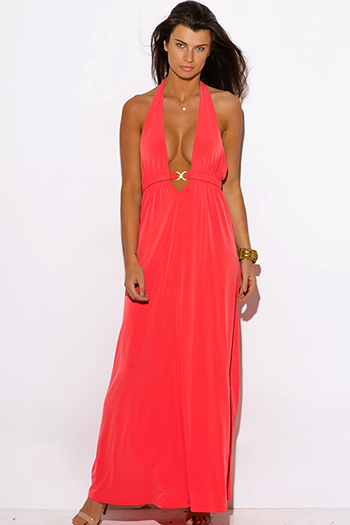 $15 - Cute cheap coral formal maxi dress - coral pink deep v neck bejeweled draped backless babydoll summer formal evening sexy party maxi dress