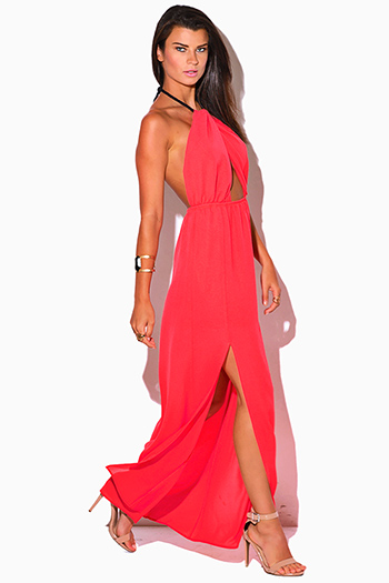 $15 - Cute cheap slit dress - coral pink crepe cut out high slit rope halter wrap neck backless formal evening sexy party maxi sun dress