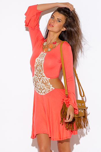 $15 - Cute cheap color coral dress - coral pink crochet cut out backless bell sleeve boho summer sexy party mini dress