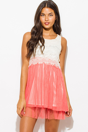 $15 - Cute cheap pink boho sexy party romper - coral pink lace overlay color block tiered tulle cocktail party mini dress