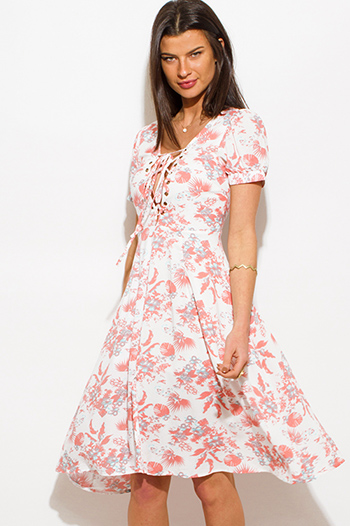 $20 - Cute cheap beige boho sun dress - coral pink floral print cap sleeve laceup slit front a line skater boho sun dress