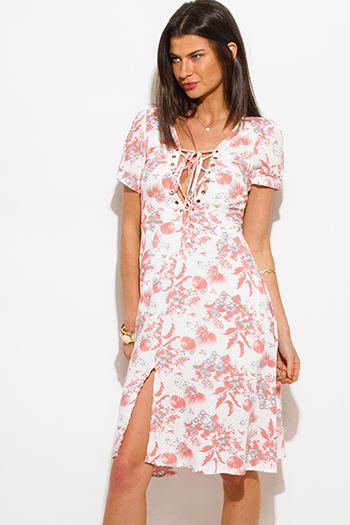$20 - Cute cheap skater a line mini dress - coral pink floral print cap sleeve laceup slit front a line skater boho sun dress