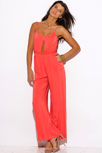 $15 - Cute cheap pink ruffle sexy party jumpsuit - coral pink pocketed cut out center wide leg summer party jumpsuit