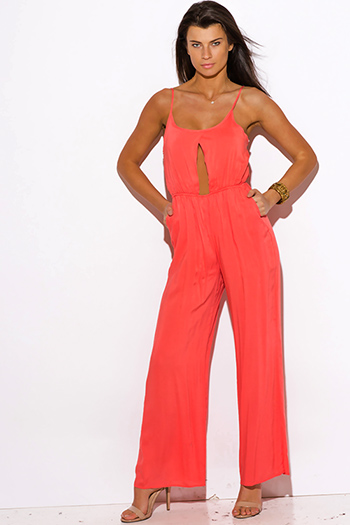 $15 - Cute cheap mesh cut out jumpsuit - coral pink pocketed cut out center wide leg summer sexy party jumpsuit