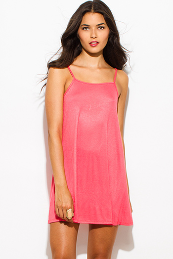 $15 - Cute cheap open back bustier catsuit - coral pink ribbed knit spaghetti strap open back sexy party mini dress