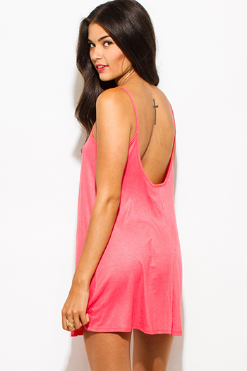 $7 - Cute cheap coral pink ribbed spaghetti strap backless sexy party mini sun dress