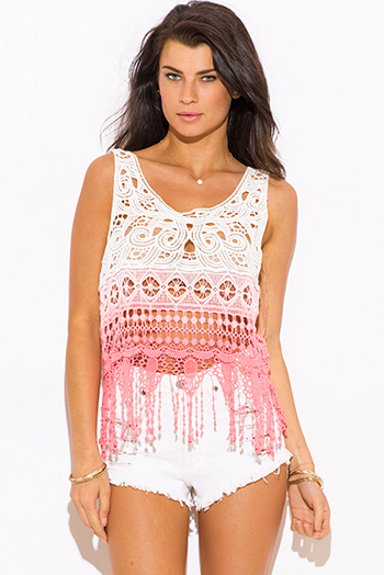 $10 - Cute cheap color coral dresses.html - coral pink tie dye crochet lace fringe trim boho beach cover up tank top