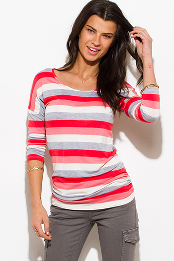 $10 - Cute cheap red sheer crop top - coral red multicolor striped quarter sleeve ruched knit top