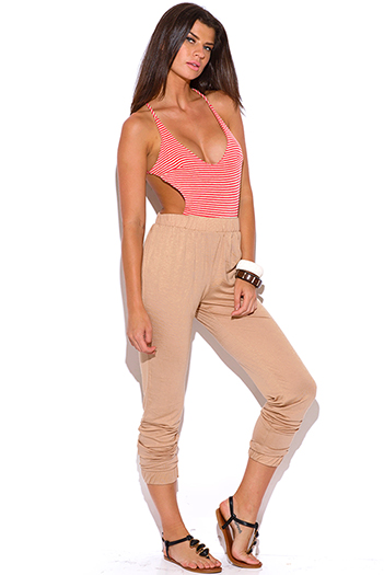 $15 - Cute cheap jumpsuit - coral red stripe criss cross backless khaki beige 2fer jersey harem jumpsuit
