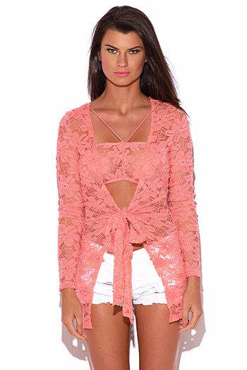 $20 - Cute cheap lace fitted top - coral flower lace bow tie fitted long sleeve tunic shrug see through blazer top