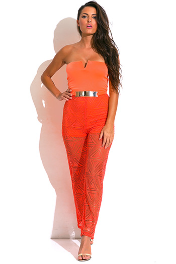 $20 - Cute cheap red yellow abstract print strapless sexy party jumpsuit 79510 - coral strapless belted high waist crochet lace resort evening summer party jumpsuit