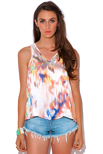 $5 - Cute cheap chiffon top - coral watercolor print chiffon sequined caged back swing sexy party tank top