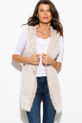 $15 - Cute cheap career wear - cream beige textured open front hooded fuzzy sweater knit cardigan vest top