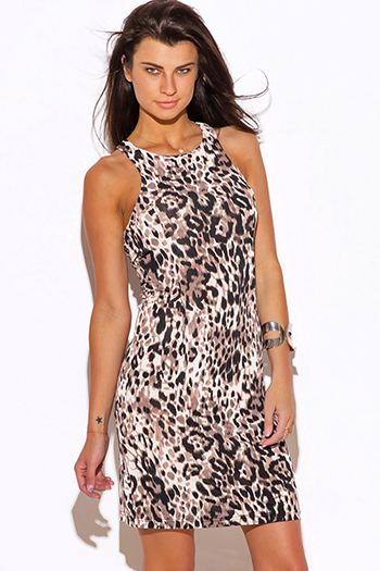 $10 - Cute cheap leopard print dress - leopard animal print racer back sexy party shift midi dress