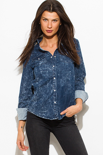 $15 - Cute cheap blue mesh sexy club top - dark blue acid wash denim quarter sleeve button up blouse top