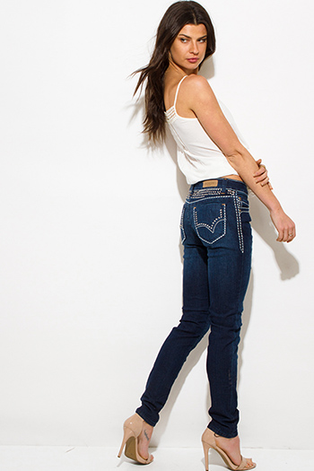 $15 - Cute cheap clothes - dark blue denim embroidered distressed exposed stitching bejeweled fitted skinny jeans