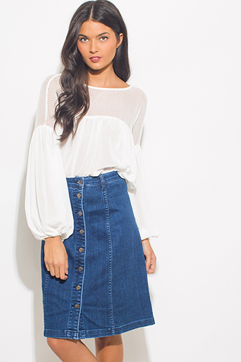 $15 - Cute cheap dark blue denim high waisted button up boho midi skirt