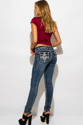 $15 - Cute cheap blue denim skinny jeans - dark blue denim washed embroidered bejeweled fitted mid rise skinny jeans