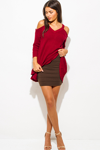 $10 - Cute cheap pocketed fitted sexy club tunic - dark brown ribbed knit bandage bodycon fitted club mini skirt