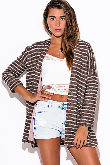 $15 - Cute cheap find sweater - dark brown stripe fuzzy boho sweater cardigan jacket