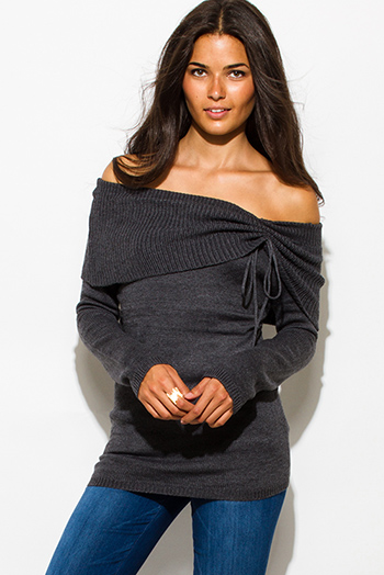 $20 - Cute cheap clothes - dark charcoal gray ribbed knit off shoulder long sleeve drawstring sweater boho tunic top