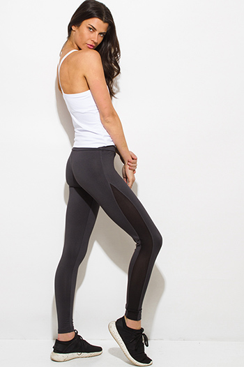 $15 - Cute cheap  white waisted band exposed stitching black fitness yoga leggings - dark charcoal gray side see through mesh panel fitness yoga leggings
