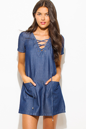 $25 - Cute cheap blue boho mini dress - dark denim blue chambray v neck short sleeve laceup pocketed boho shift mini shirt dress