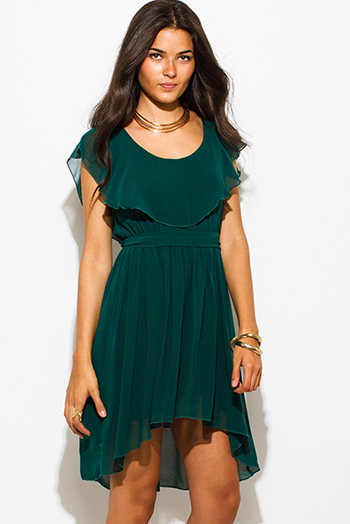 $15 - Cute cheap leather sexy party mini dress - dark emerald green ruffle tiered high low boho evening party mini dress