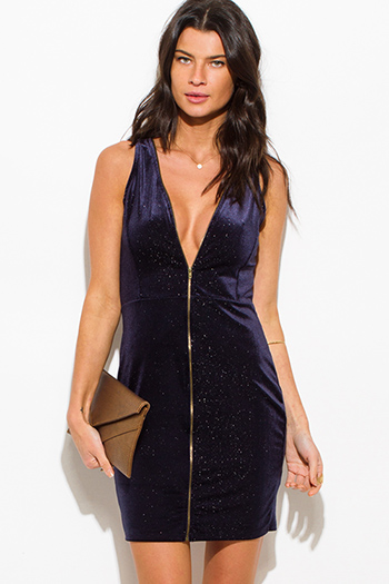 $15 - Cute cheap slit sexy club mini dress - dark midnight blue metallic velvet zip up sleeveless bodycon fitted club mini dress