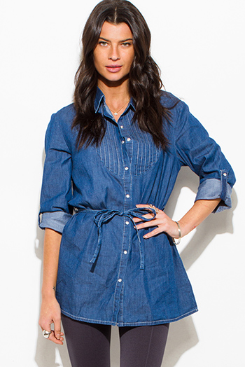 $15 - Cute cheap light blue washed denim quarter sleeve snap button up blouse top - dark navy blue denim button up sashed boho tunic blouse top
