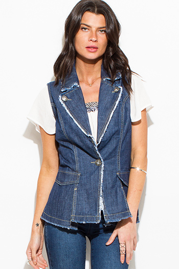 $15 - Cute cheap crepe top - dark navy blue denim embellished distressed fitted vest top