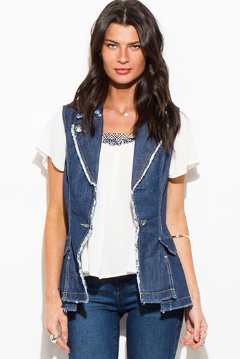 $15 - Cute cheap lace fitted top - dark navy blue denim embellished distressed fitted vest top