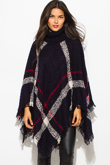 $25 - Cute cheap ruffle poncho - dark navy blue giant checker plaid fuzzy boho knit poncho sweater jacket tunic top