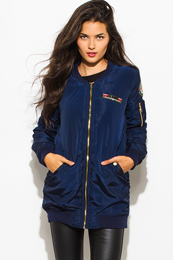 $35 - Cute cheap caramel brown faux leather ribbed bomber moto jacket - dark navy blue military zip up pocketed patch embroidered puff bomber coat jacket