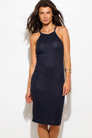 $15 - Cute cheap fitted midi dress - dark navy blue ribbed knit halter spaghetti strap racer back fitted bodycon sweater midi dress