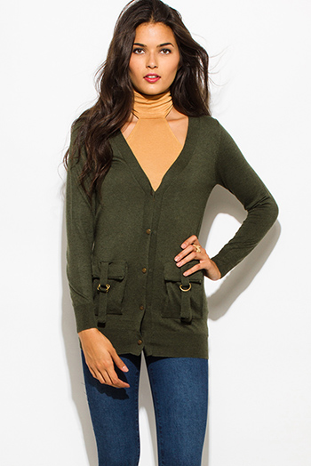 $20 - Cute cheap jacket - dark olive green knit v neck button down military utilitarian buckle bejeweled sweater cardigan top