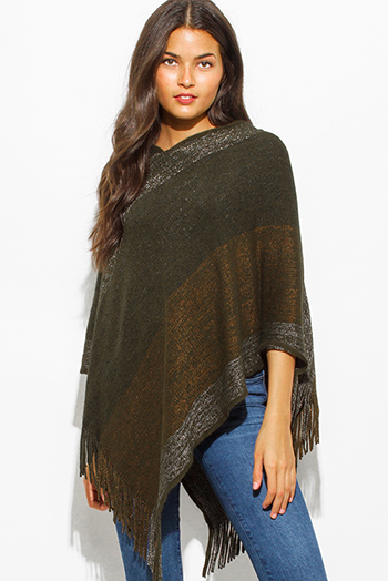 $20 - Cute cheap clothes - dark olive green multicolor v neck boho fringe poncho sweater knit tunic top