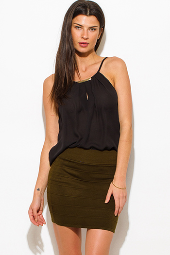 $10 - Cute cheap sheer bodycon sexy club bodysuit - dark olive green stretch ribbed knit bandage bodycon fitted club mini skirt