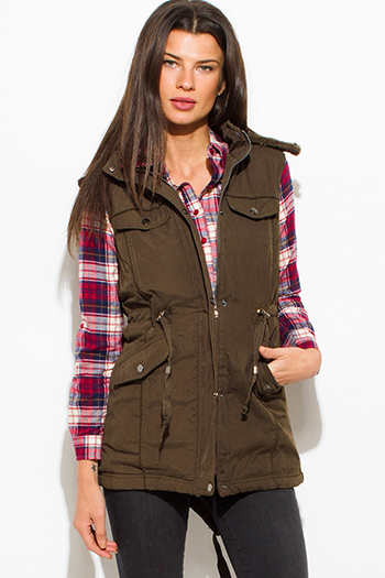 $30 - Cute cheap pocketed vest - dark olive green zip up buttoned faux fur lined pocketed hooded drawstring puffer cargo trench vest