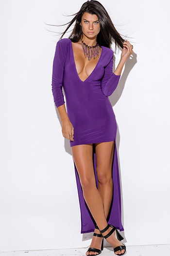 $10 - Cute cheap color purple dress - royal purple deep v neck backless long sleeve high low evening sexy party dress