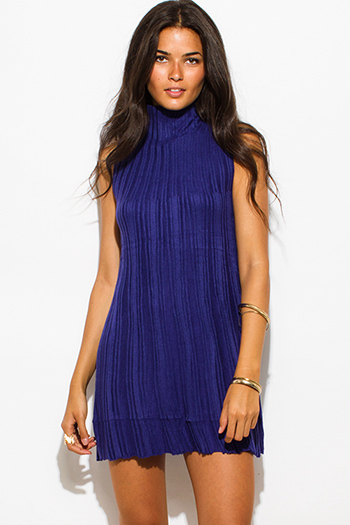 $20 - Cute cheap clothes - dark royal blue ribbed knit sleeveless high neck sweater mini dress