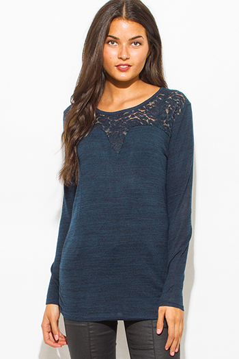 $15 - Cute cheap blue mesh sexy club top - dark teal blue cotton blend crochet lace contrast knit long sleeve sweater top