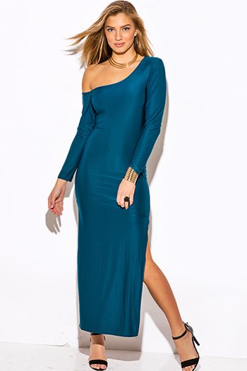 $10 - Cute cheap fitted dress - dark teal blue off shoulder one sleeve double slit fitted evening sexy party maxi dress